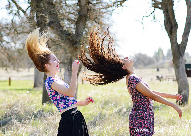 flipping hair is fun in the field
