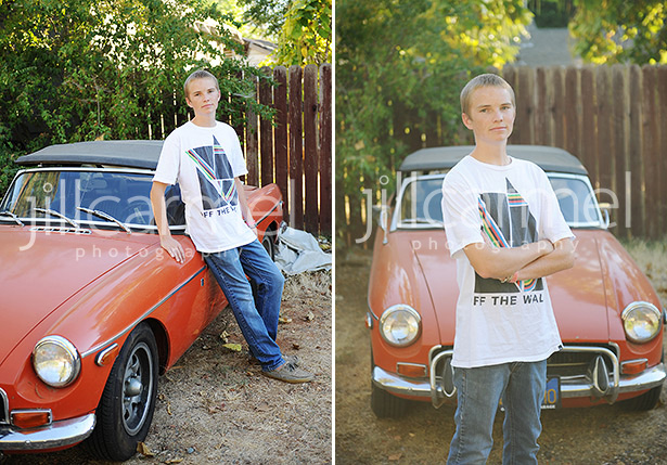 An MG sportscar is fun to include in high school senior portraits in Folsom.