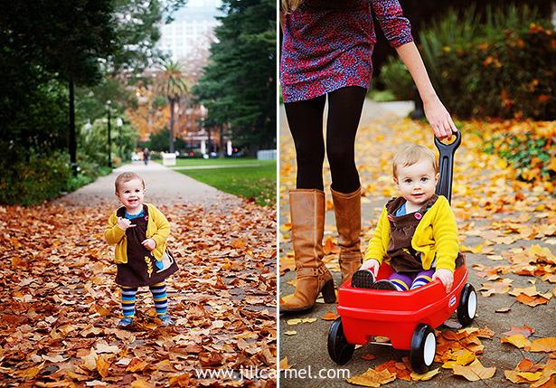 yellow sweater fallen leaves wagon
