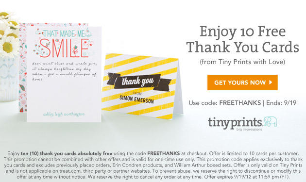 Ten Free Thank you Cards