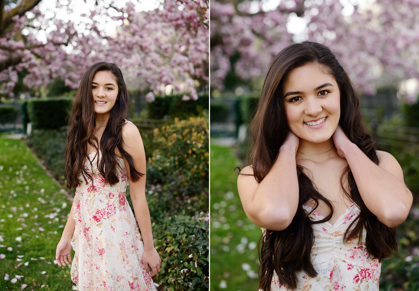 natural poses for spring senior portraits floral magnolia pink tree
