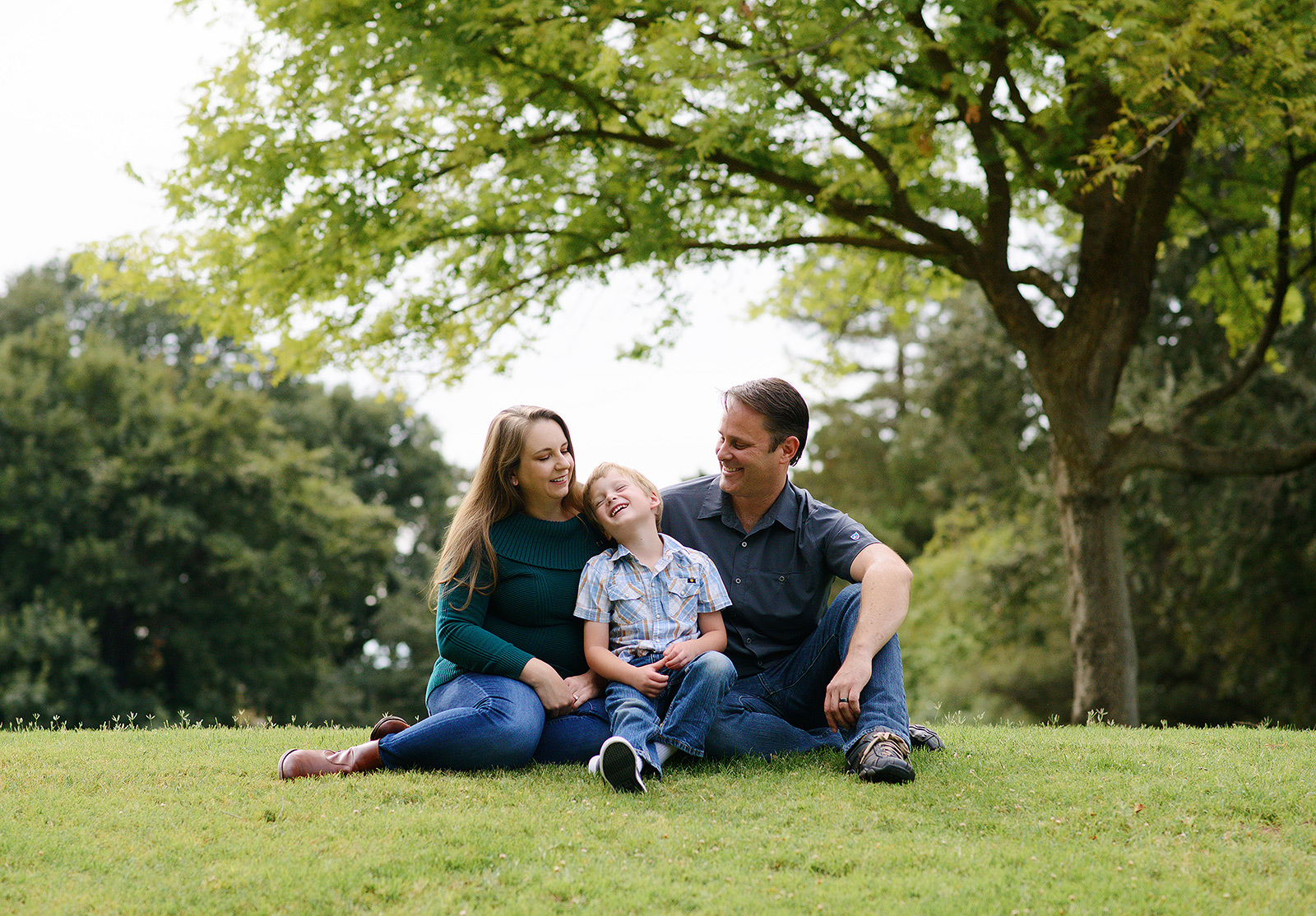 family pictures under a big shaded tree at davis arboretum