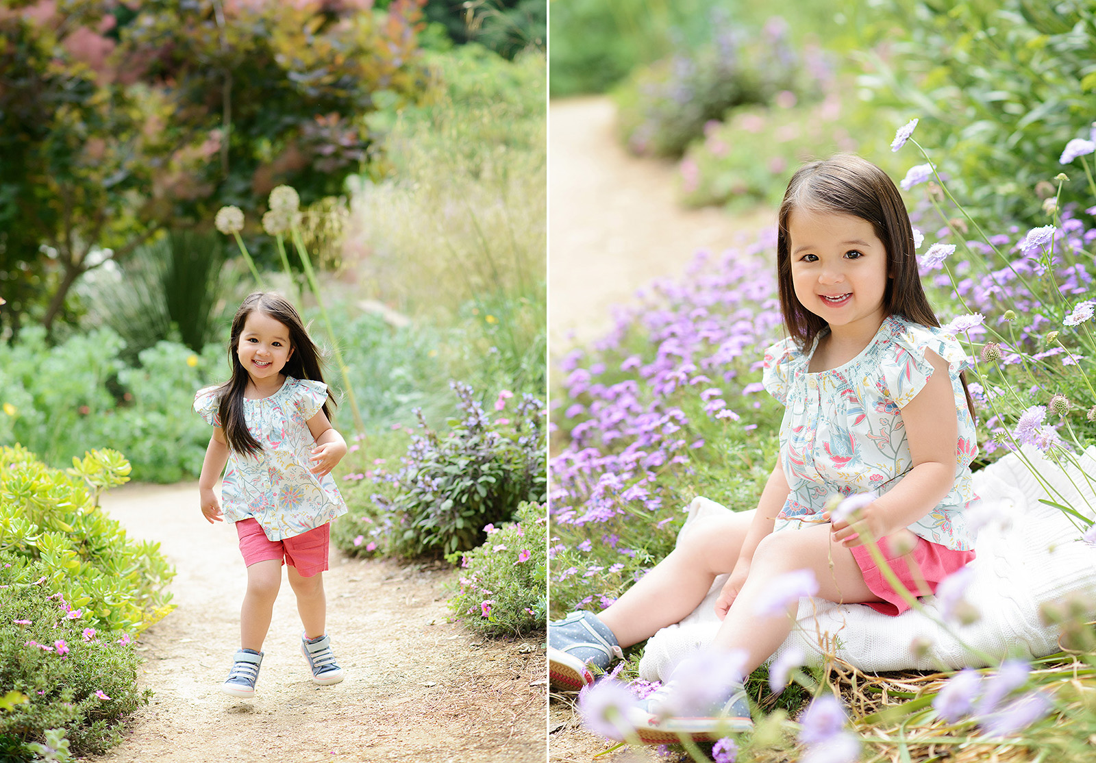 playing in the spring flowers for picture day at davis arboretum
