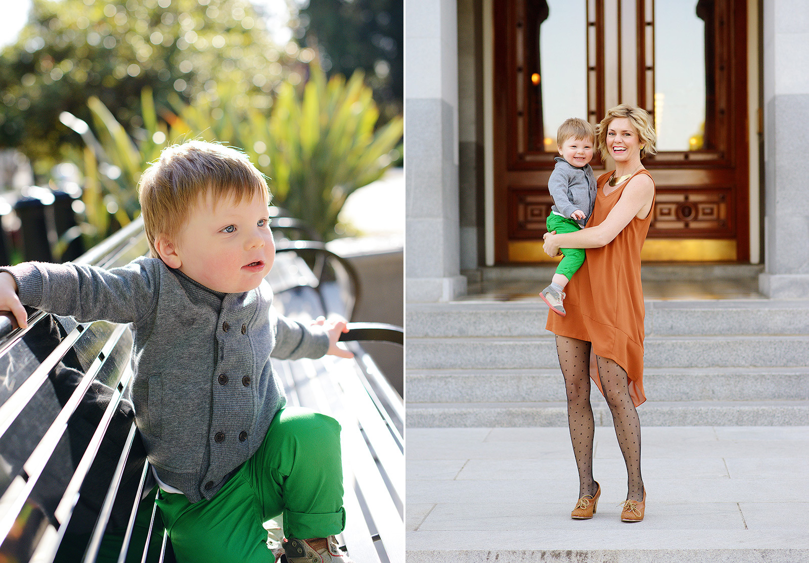 wood doors, big archways and metal benches for state capitol family pictures