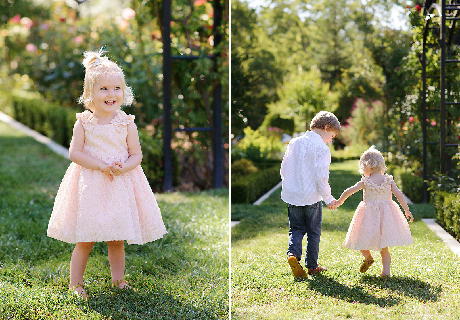 beautiful pink roses and spring time outfits for mckinley park pictures