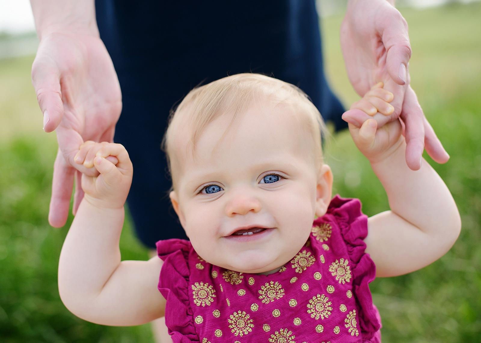 baby girl pink dress big blue eyes child portraits