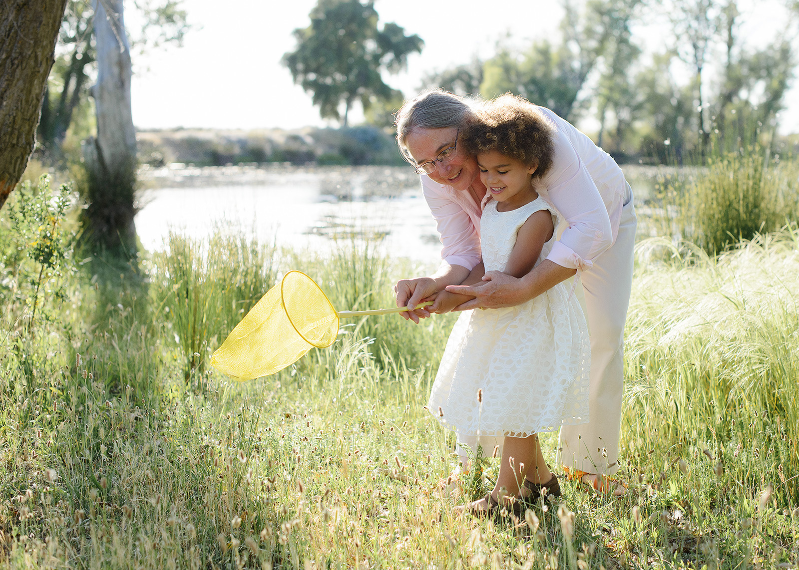 catching butterflies with grandma