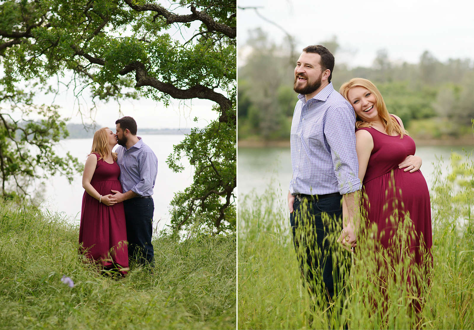 Pregnant couple smiling in folsom field of tall grass