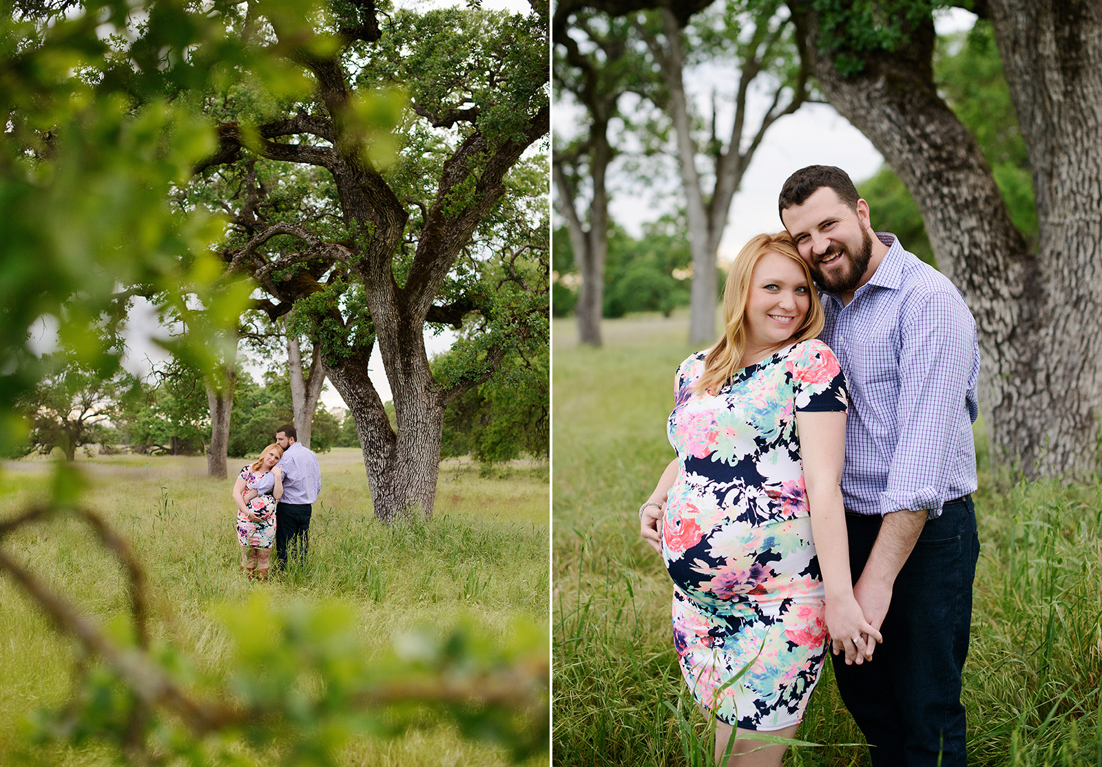 Maternity session outdoors in folsom holding hands in their pregnancy photos