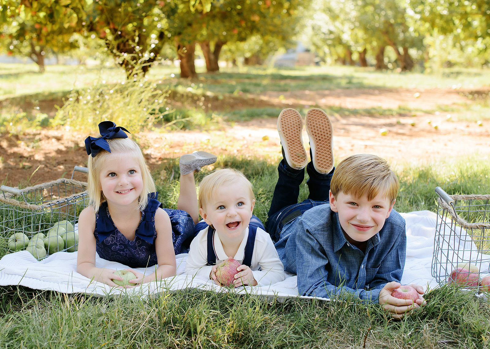 Sister and Brothers on Picnic Blanket in Apple Orchard in Apple Hill