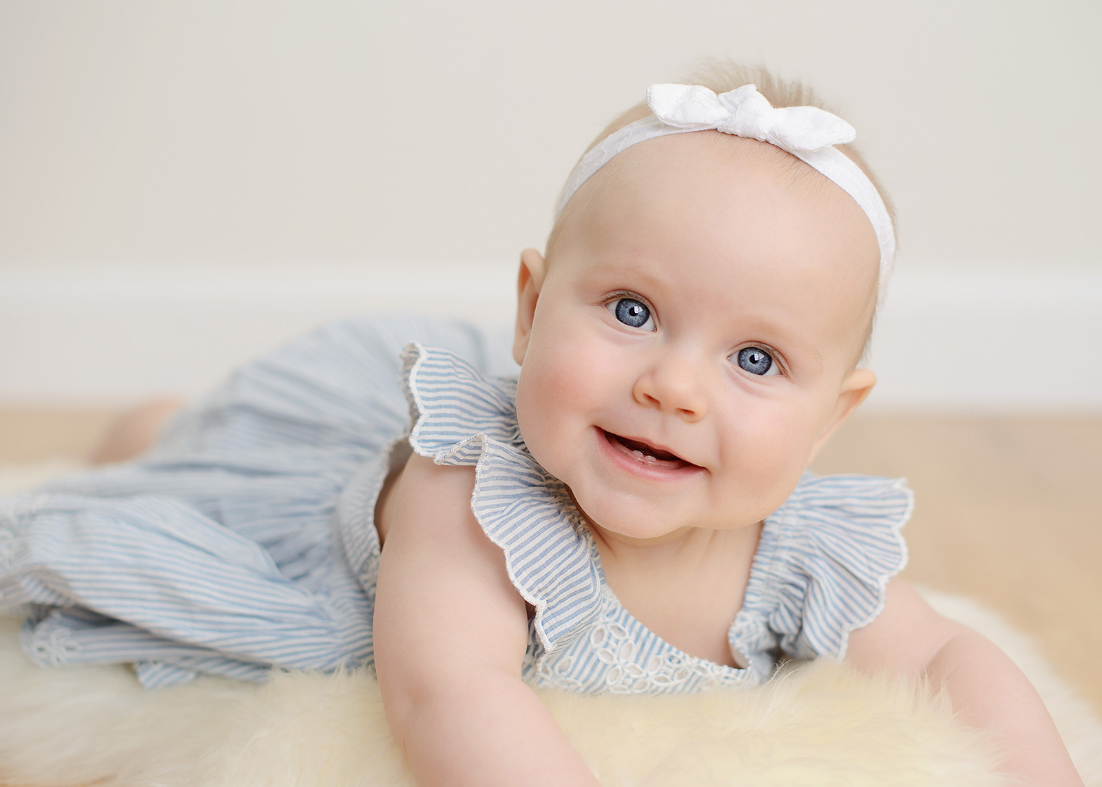Baby Girl with Blue Eyes Studio Portrait in Sacramento