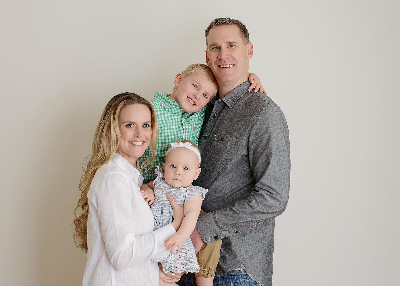 Sacramento Family Portrait on White Background in Studio