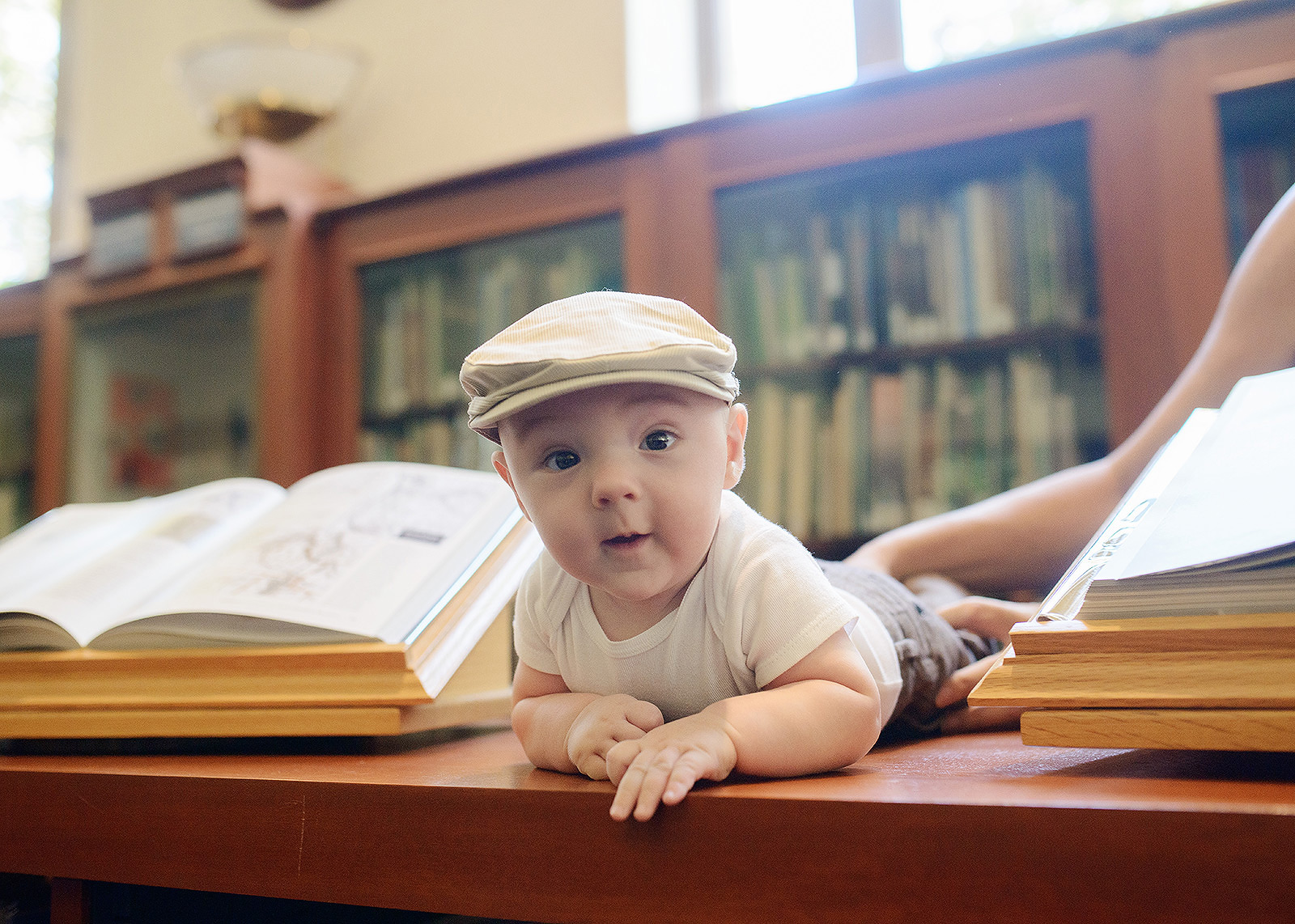 Baby In Between Books in Sacramento Downtown Central Library