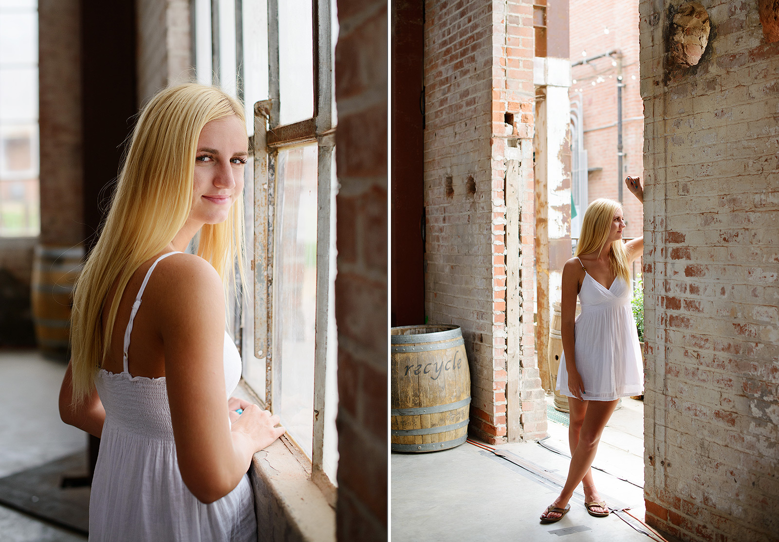 Senior Girl Leaning Against Brick Wall in Old Sugar Mill in Clarksburg_2