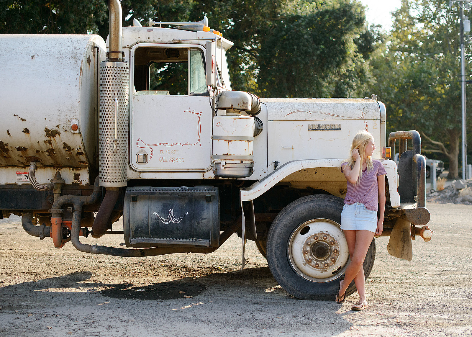 Senior Portrait with Rustic Industrial White Truck
