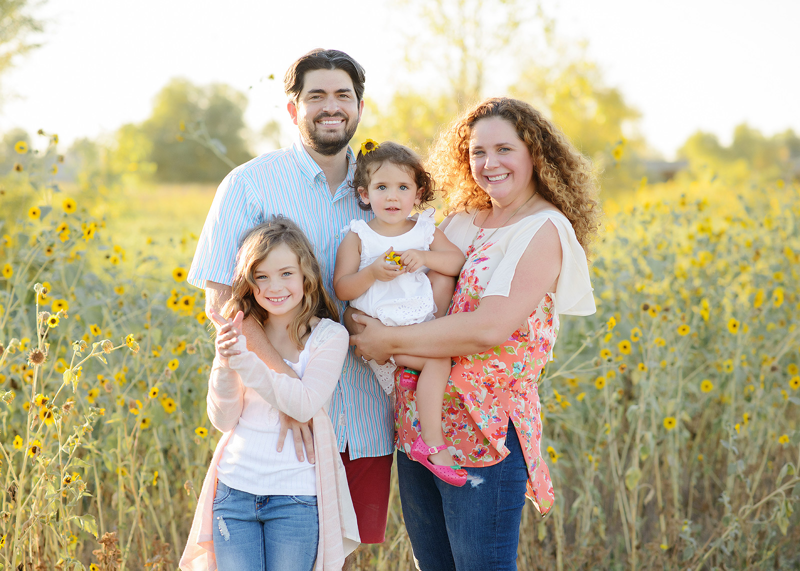 Family Photos in West Sacramento in Yellow Wildflower Field