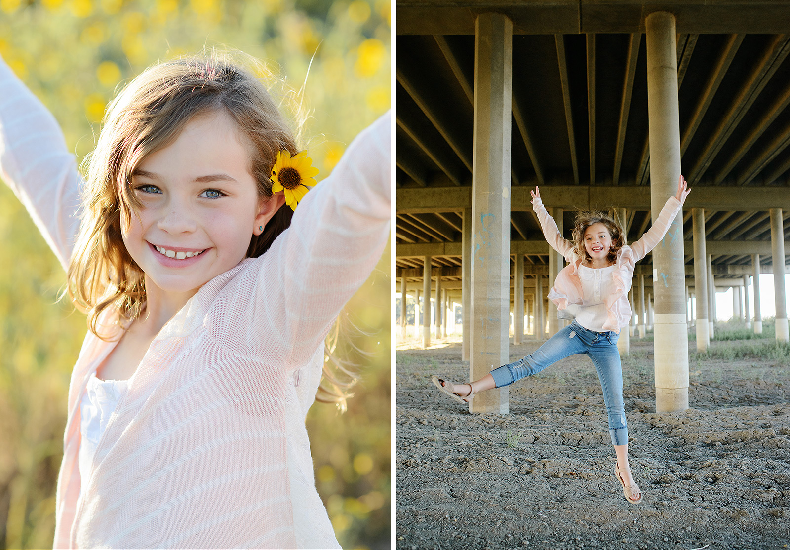 Daughter Smiling and Jumping in Field of Yellow Wildflowers