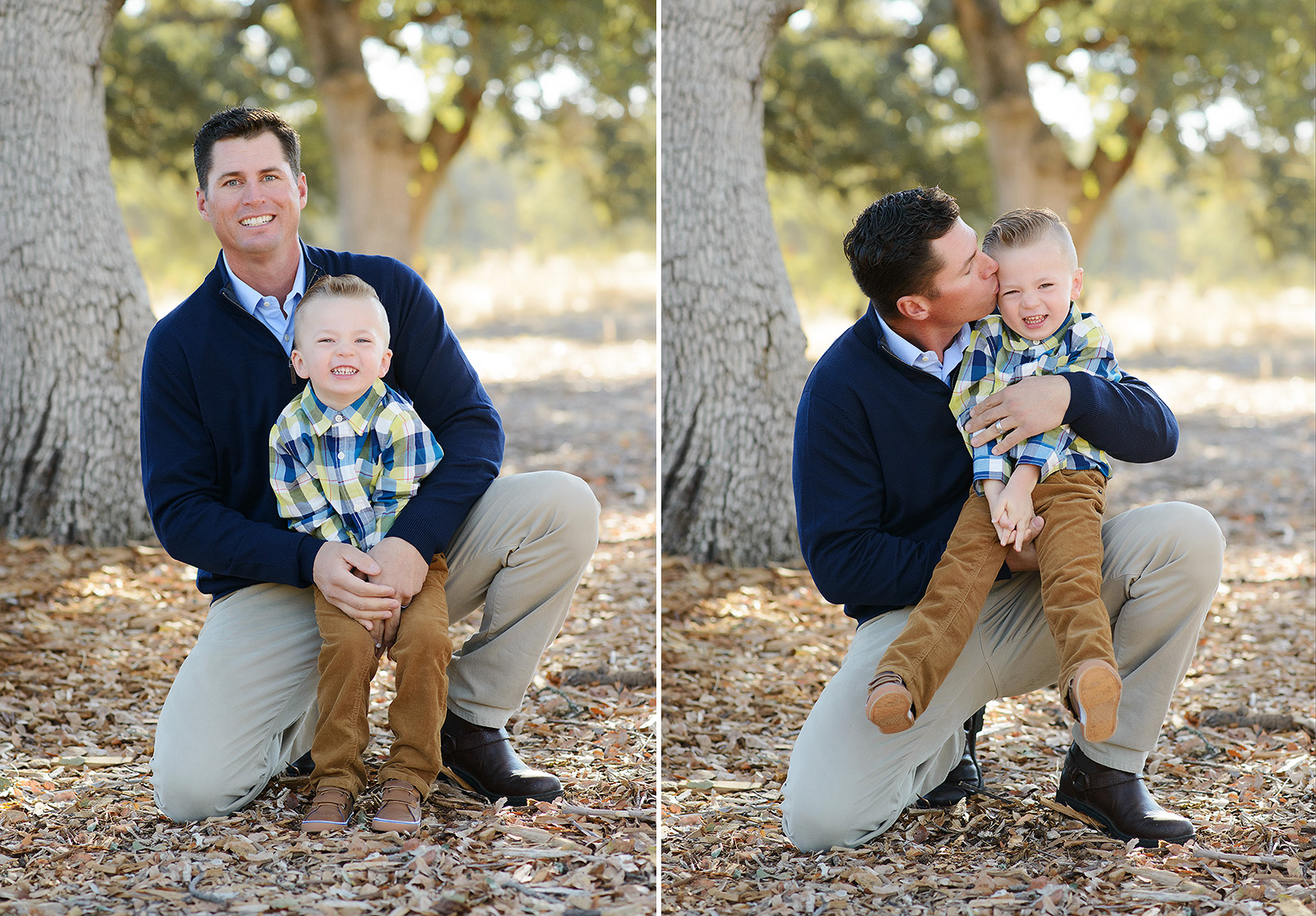 Father and Son Hugging and Kissing on Fall Leaves