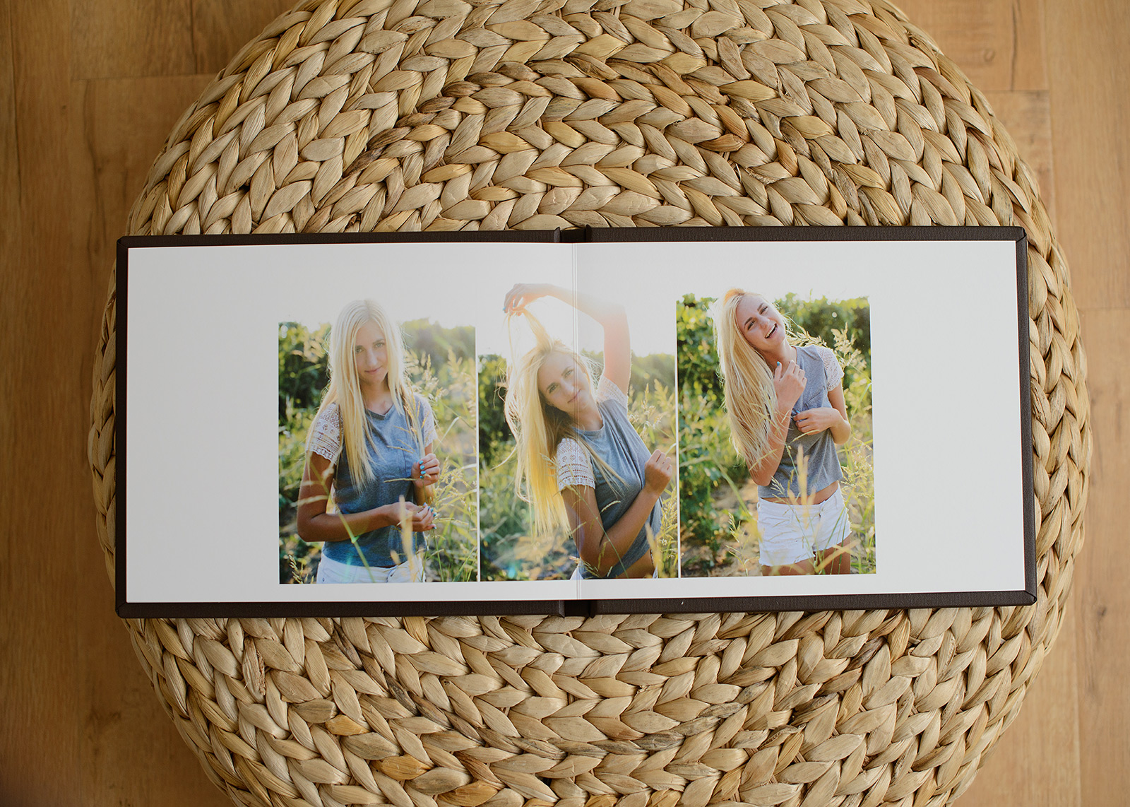 Senior Portraits Album Prints on Woven Background