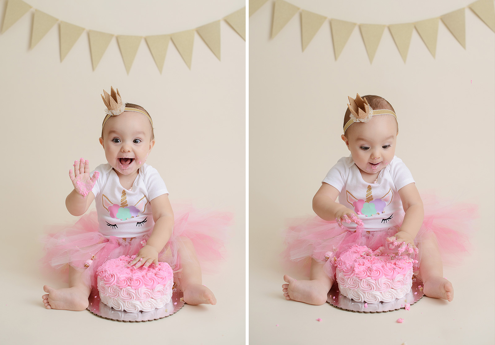 Baby Girl Pink Unicorn Cake Smash