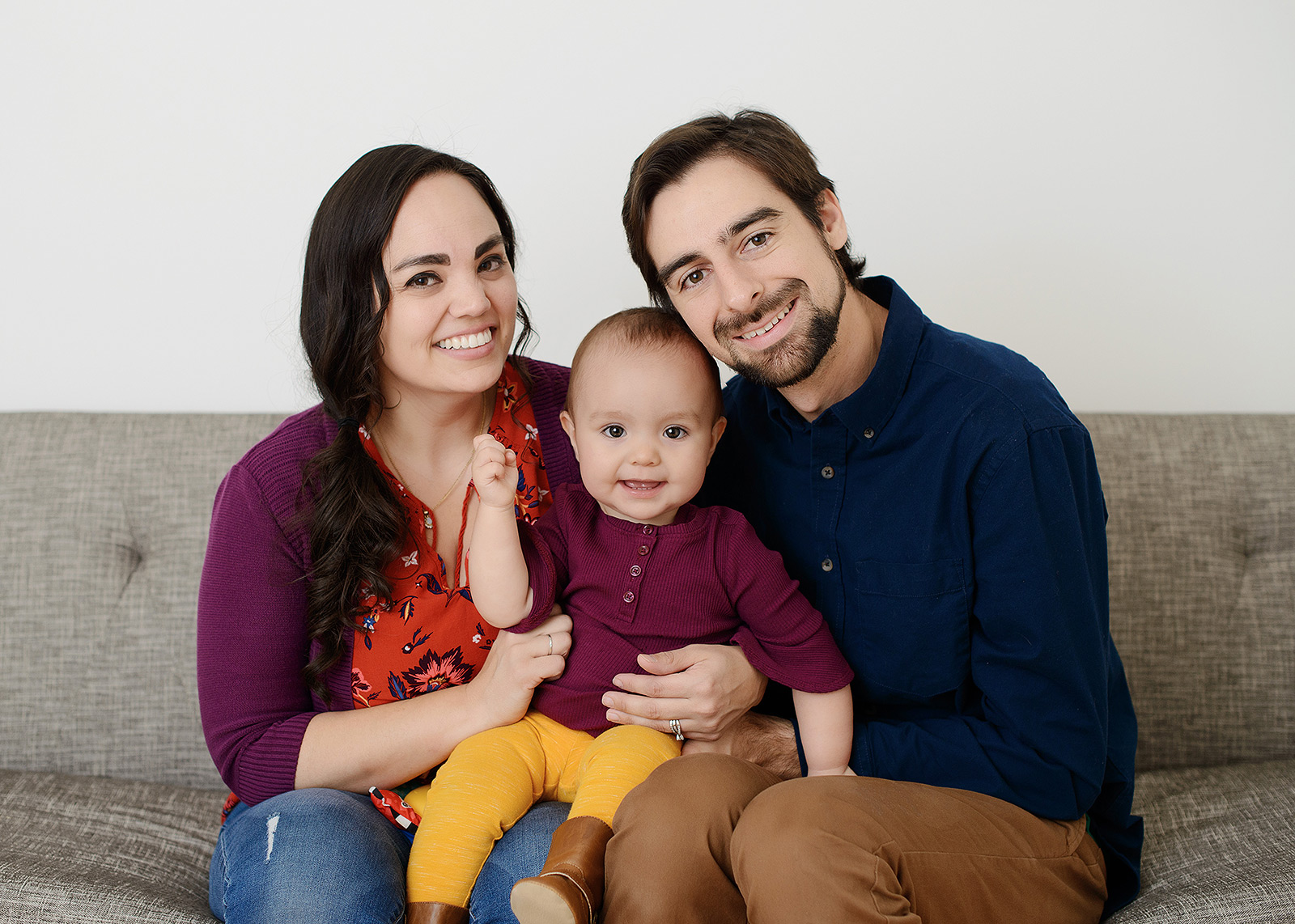 Family Studio Portrait with One Year Old Baby Girl