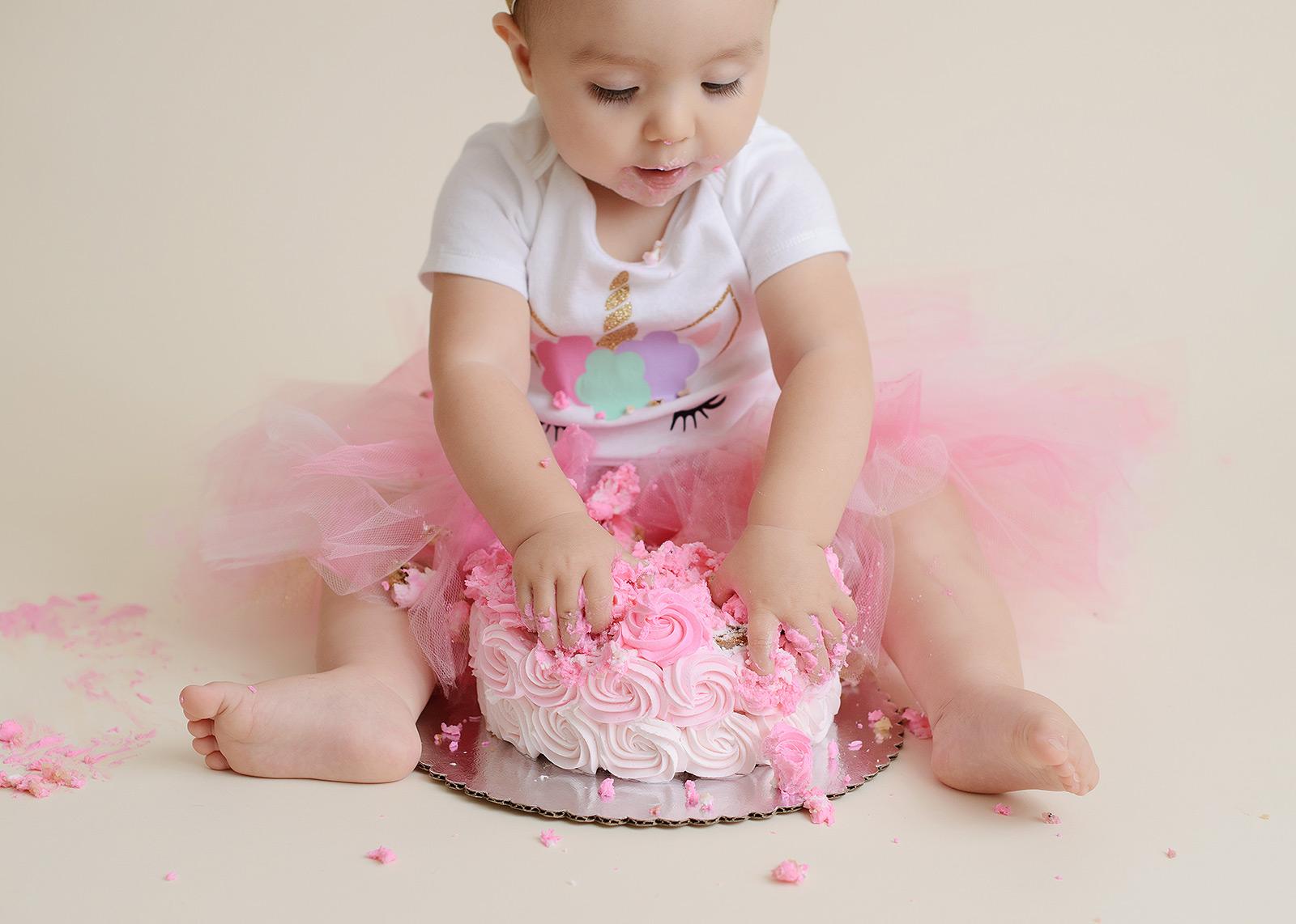Baby Girl Pink Cake Smash in Tutu