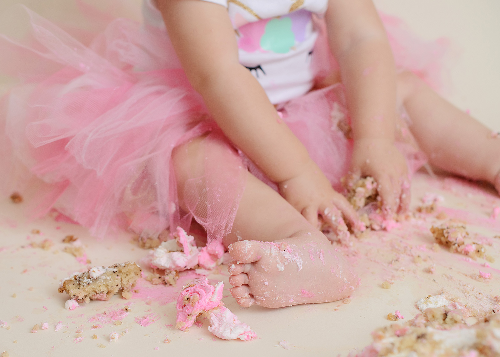 Pink Tutu and Pink Frosting on Baby Girl Toes