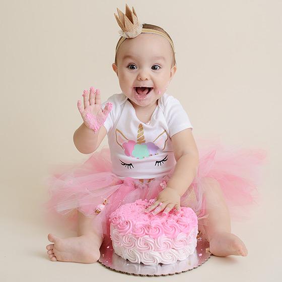 Pink Princess Unicorn Cake Smash Session in Studio