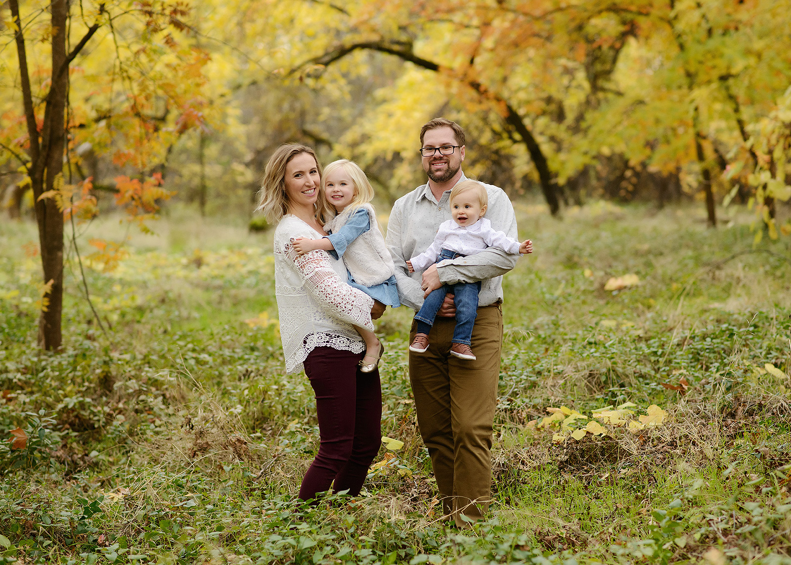 Family Portrait with Son and Daughter in Chico Outdoors with Tree Background