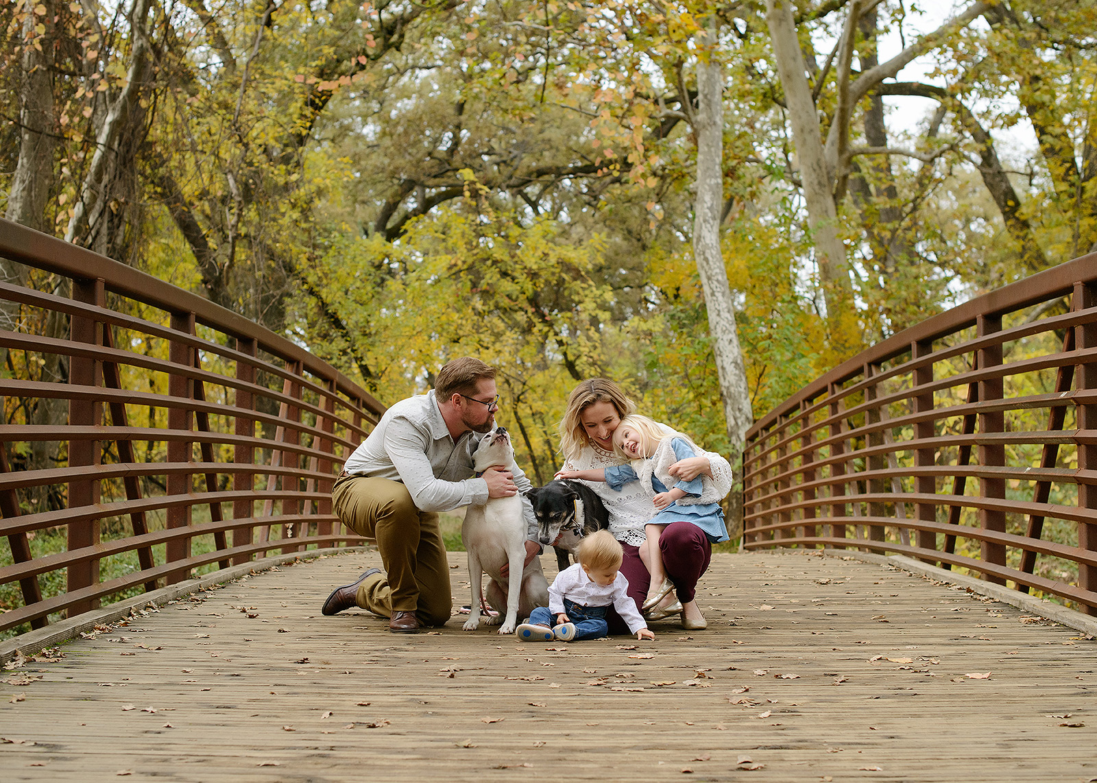 Family Portrait with Dogs on Walking Bridge in Chico