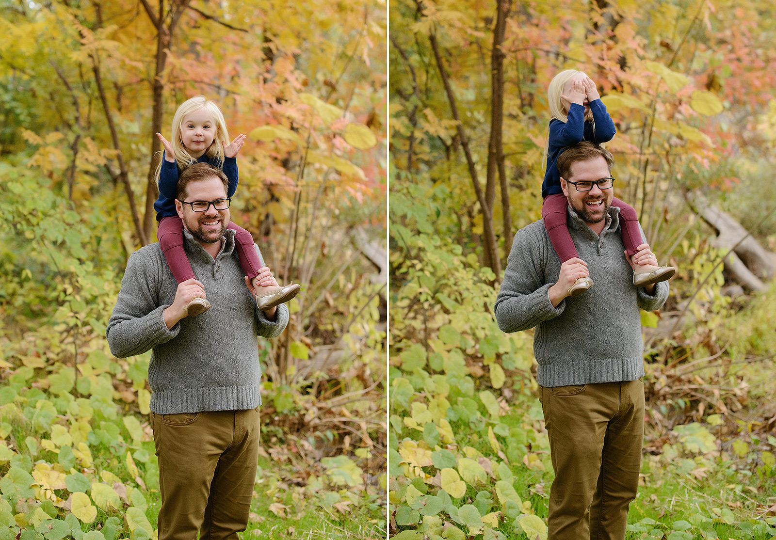 Father and Daughter Playing Peekaboo in Chico Outdoors with Trees