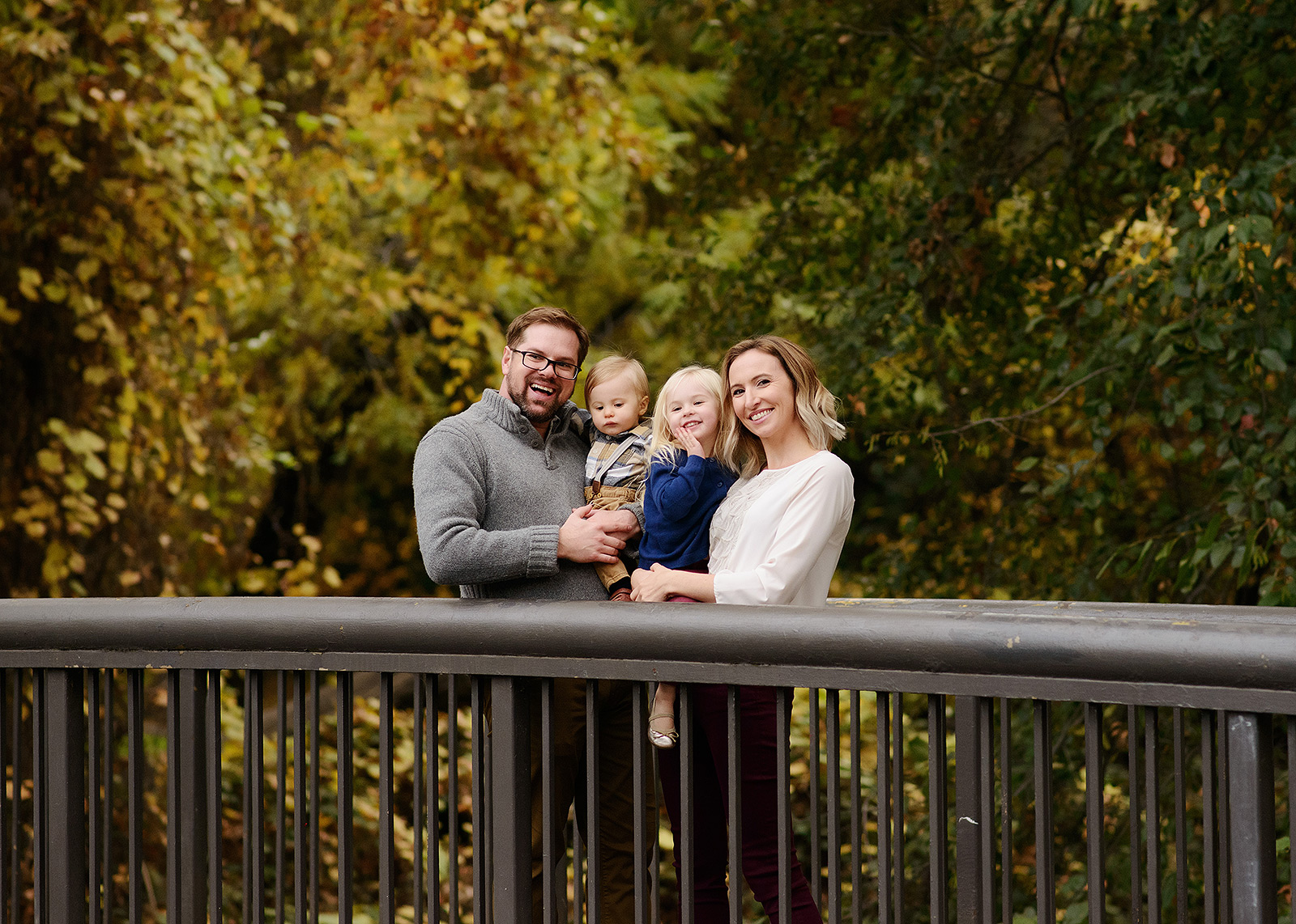 Family Portrait on Bridge Rail in Chico