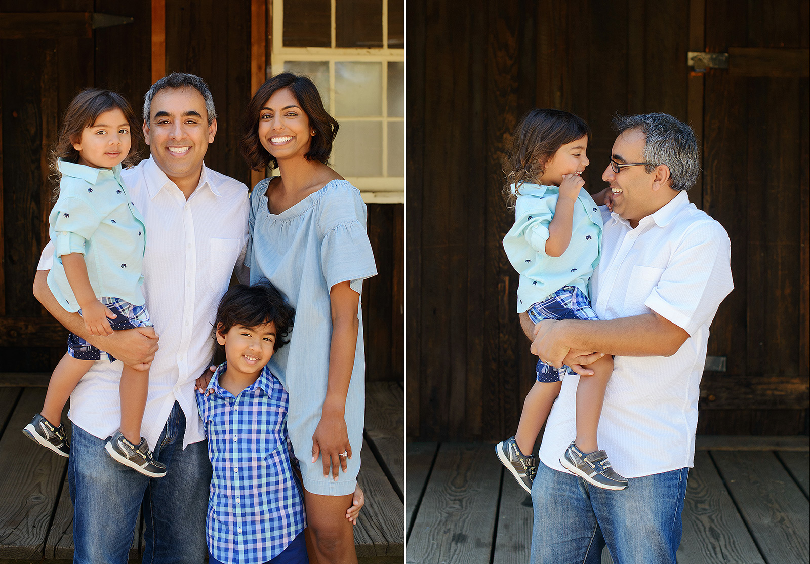 Family portrait with wooden window background at Folsom Powerhouse