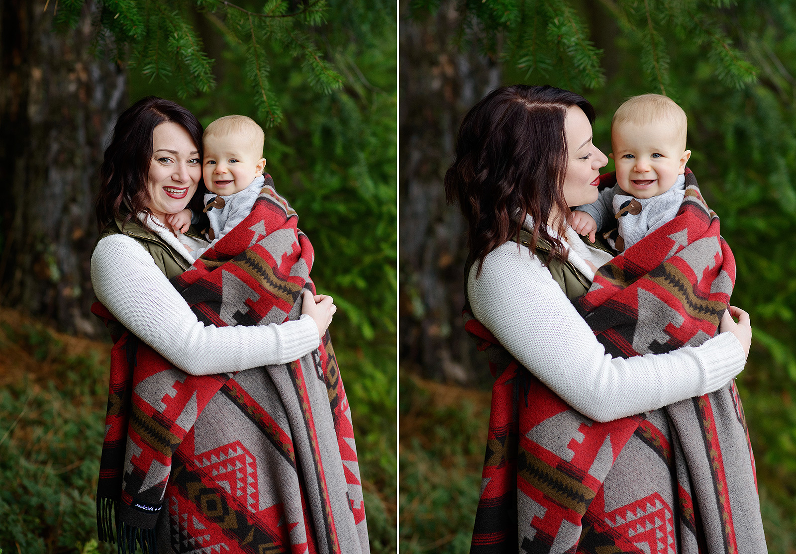 Mom and Baby Boy Getting Cozy in Southwestern Blanket in Pollock Pines Forest