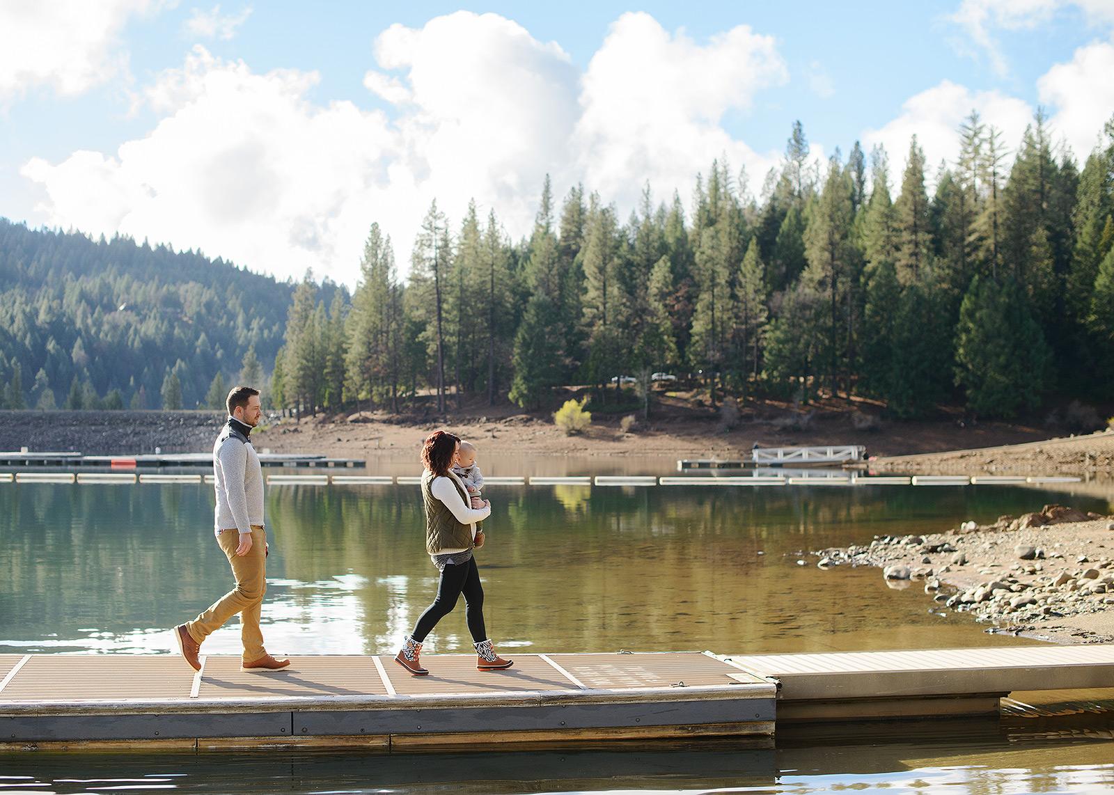 Family Walking Along Pollock Pines Lake Landscape