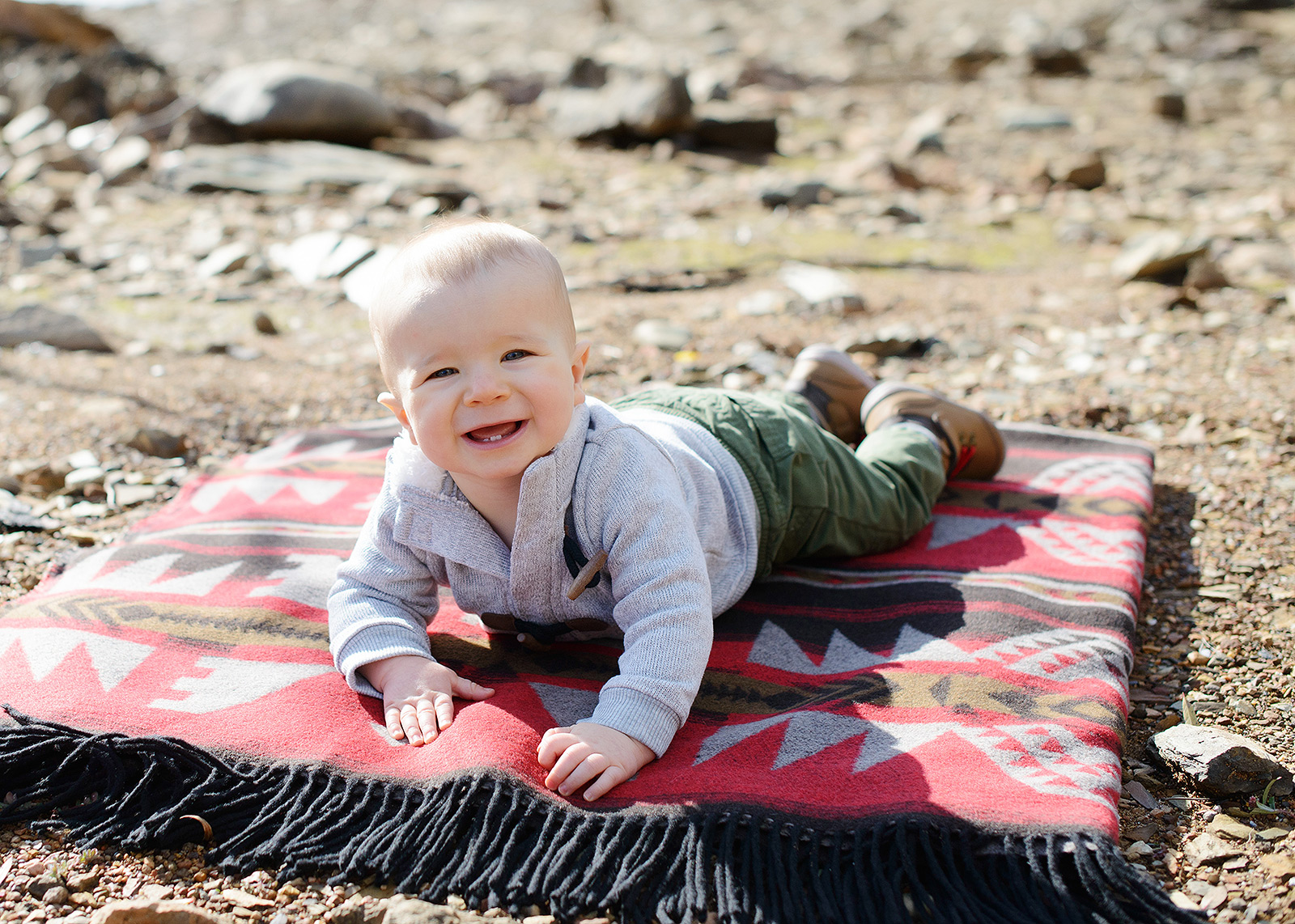 Baby Boy Smiling on Southwest Print Blanket by Pollock Pines Lake