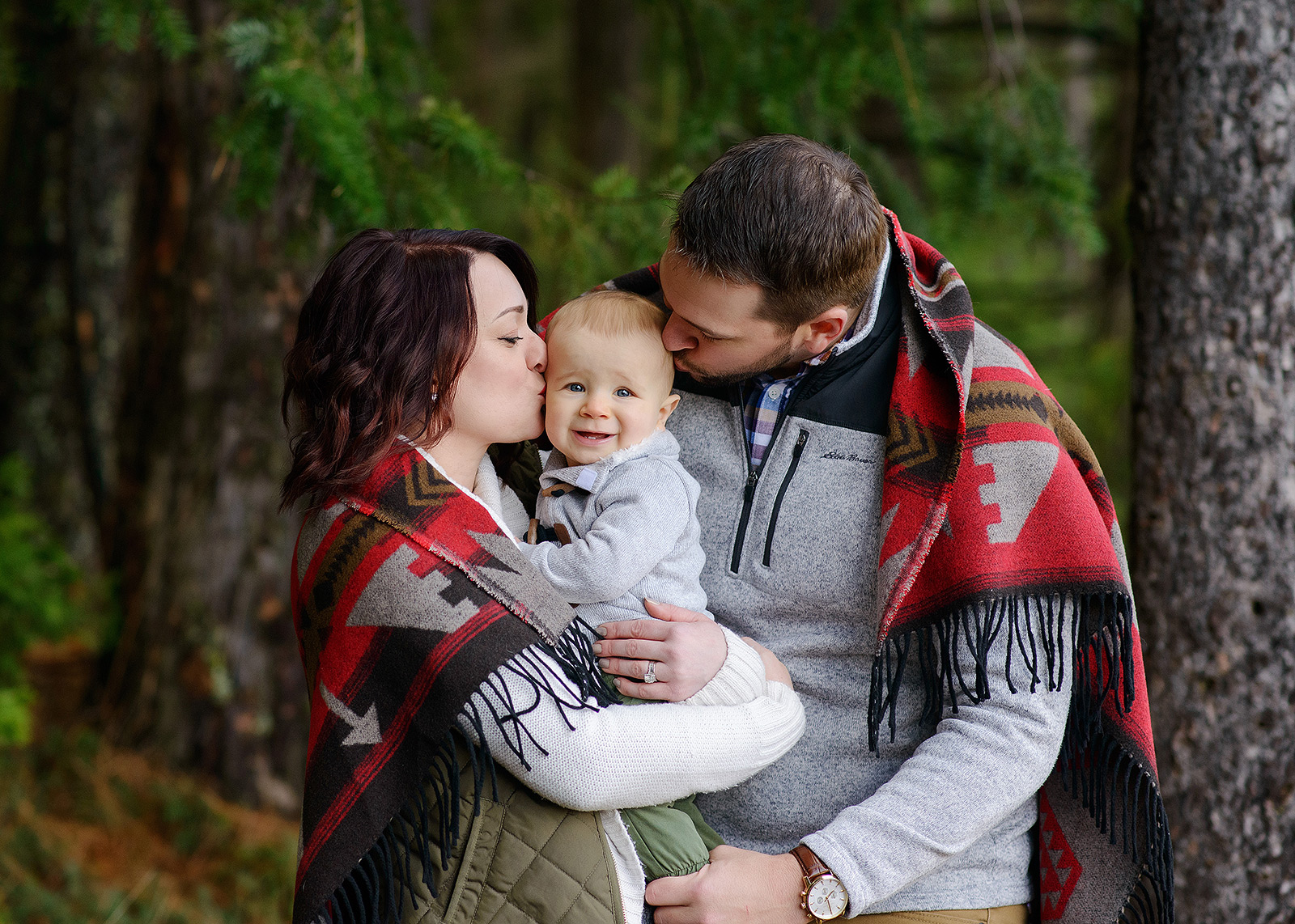 Family Photo with Southwest Print Blanket in Pollock Pines Forest