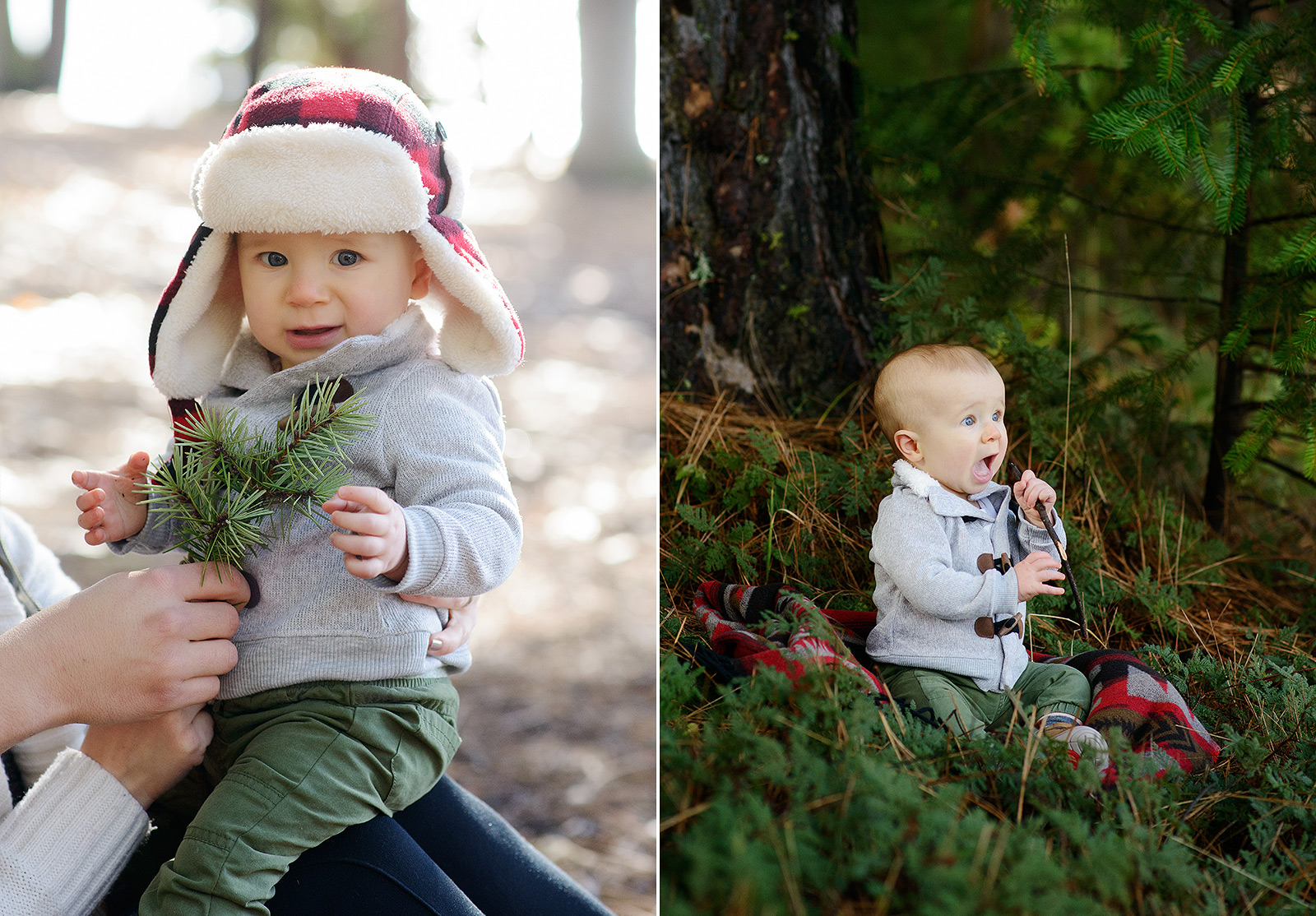 Baby Boy Wearing Flannel Fleece Hat Playing with Pine Leaves in Pollock Pines