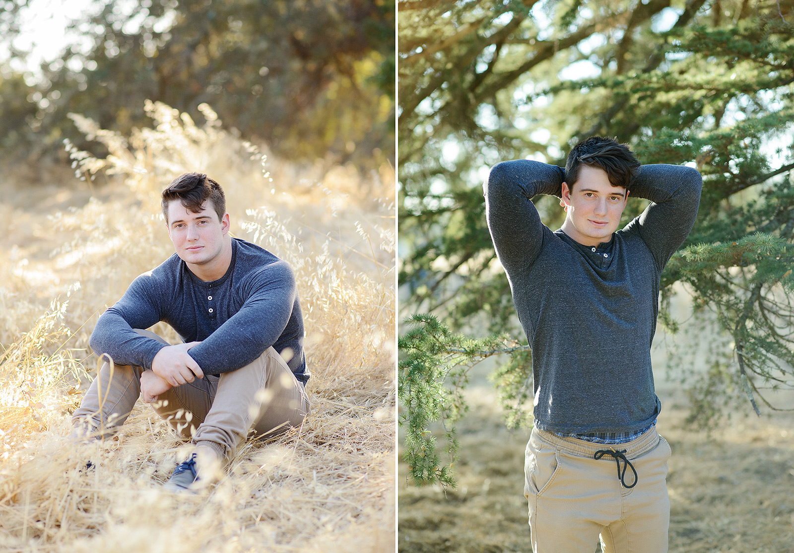 Male teenager posing for senior portraits on yellow grass and trees