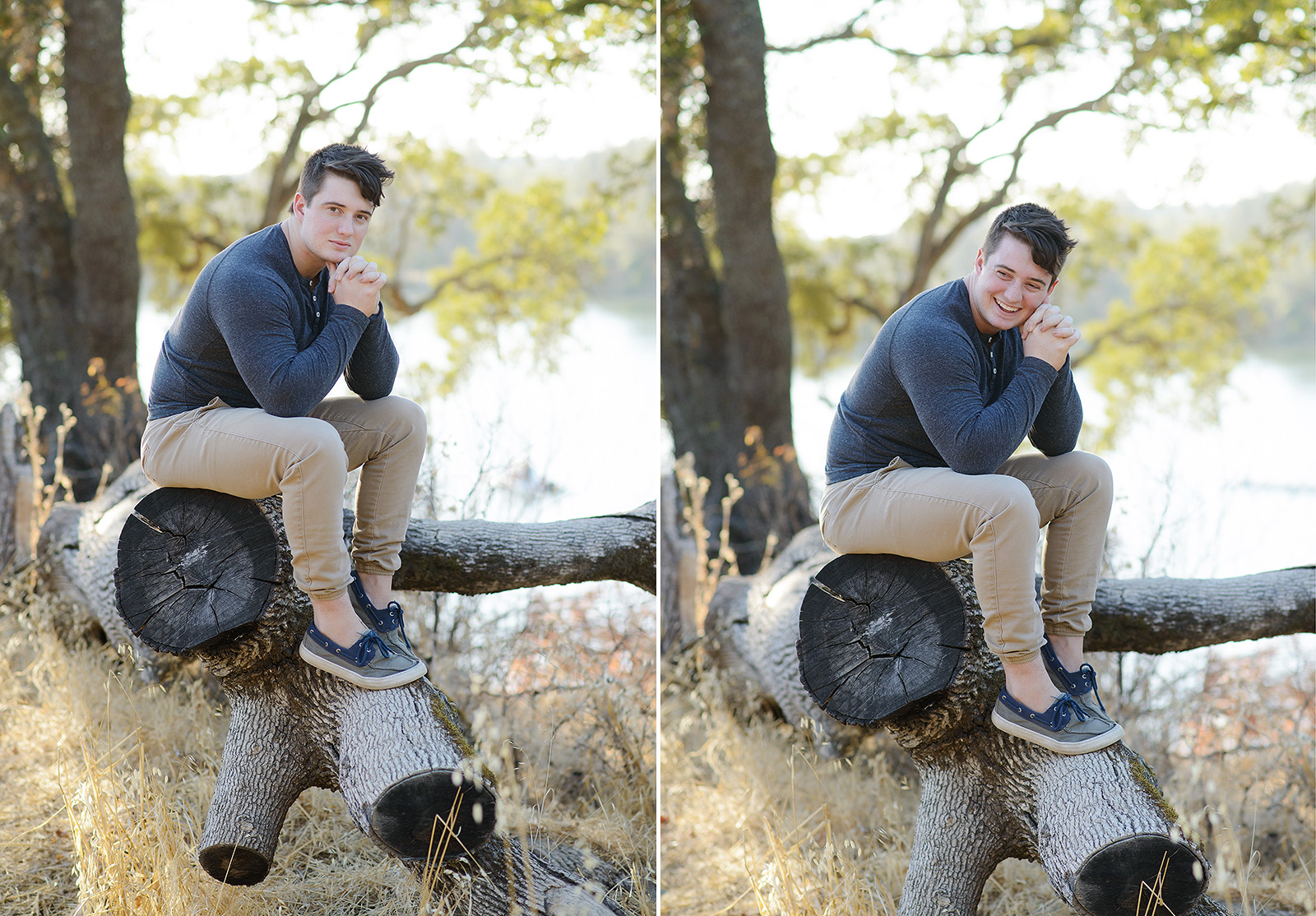 Male teen sitting on fallen log in Folsom park