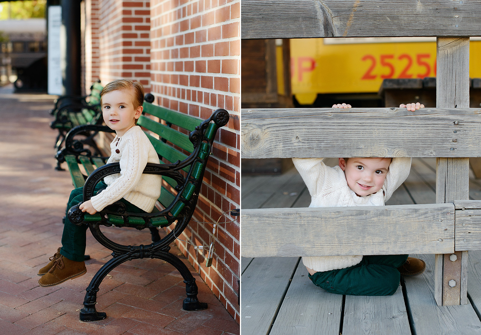 Boy Playing Peekaboo on Fence and Sitting on Green Bench in Old Sacramento
