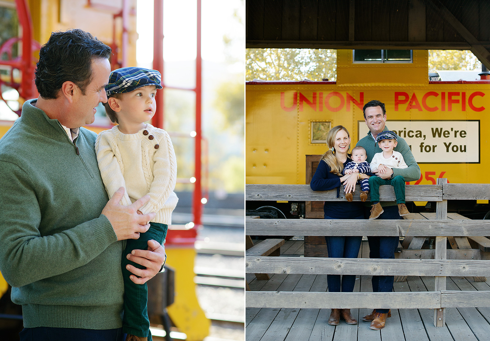Father and Son in Front of Yellow and Red Train in Old Sacramento