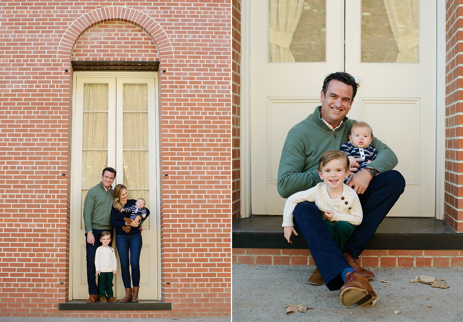 Father and Sons Family Photo in Front of Old Brick Building