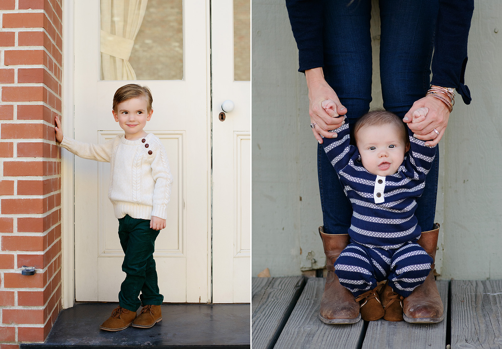 Baby Brother with Brown Boots Standing with Help from Mom in Old Sacramento