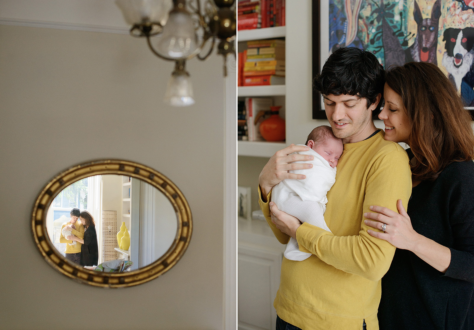 Mom and Dad Hug New Baby Reflection in Mirror