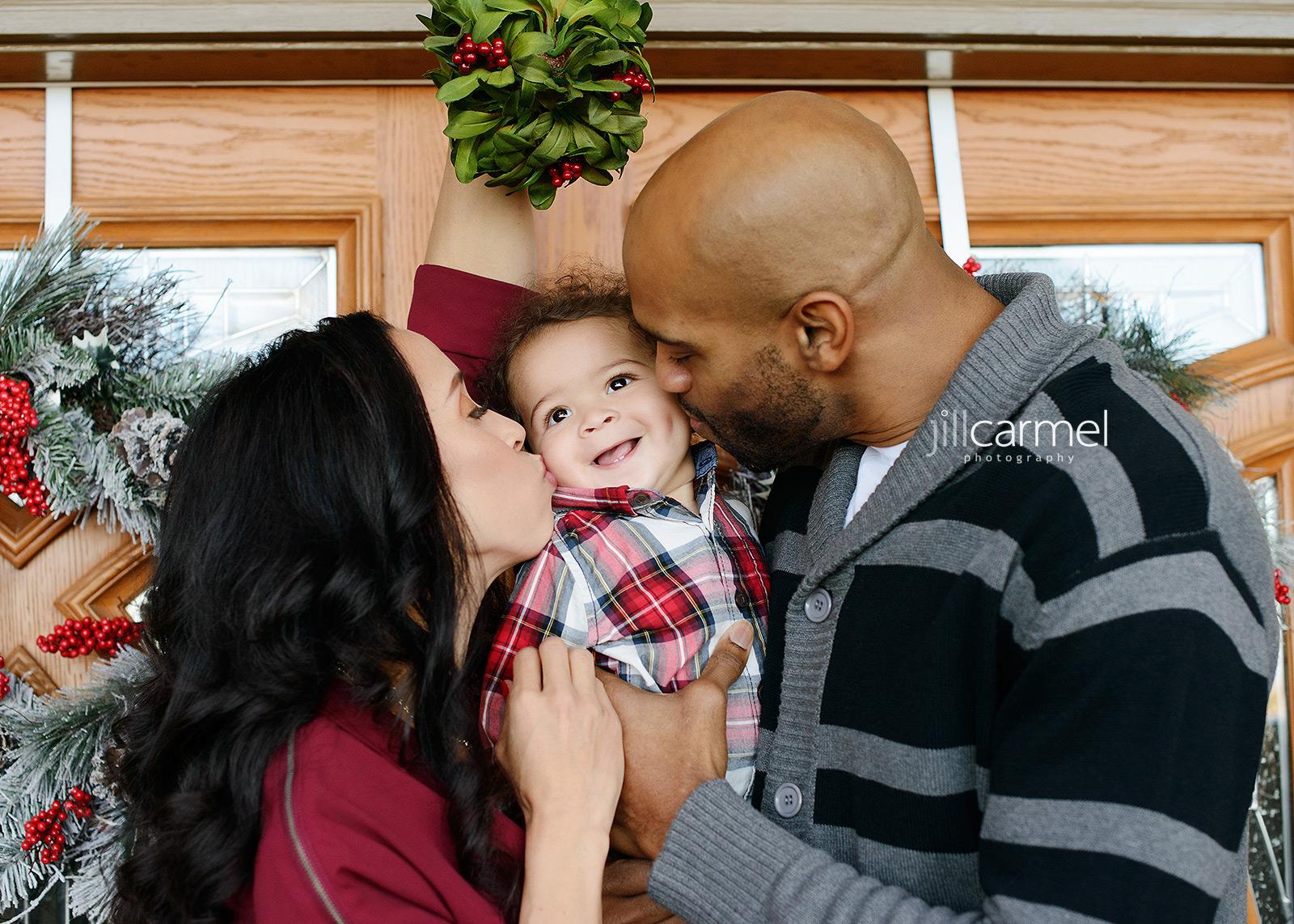 Vince and Sondi Carter Under a Mistletoe with Baby Boy