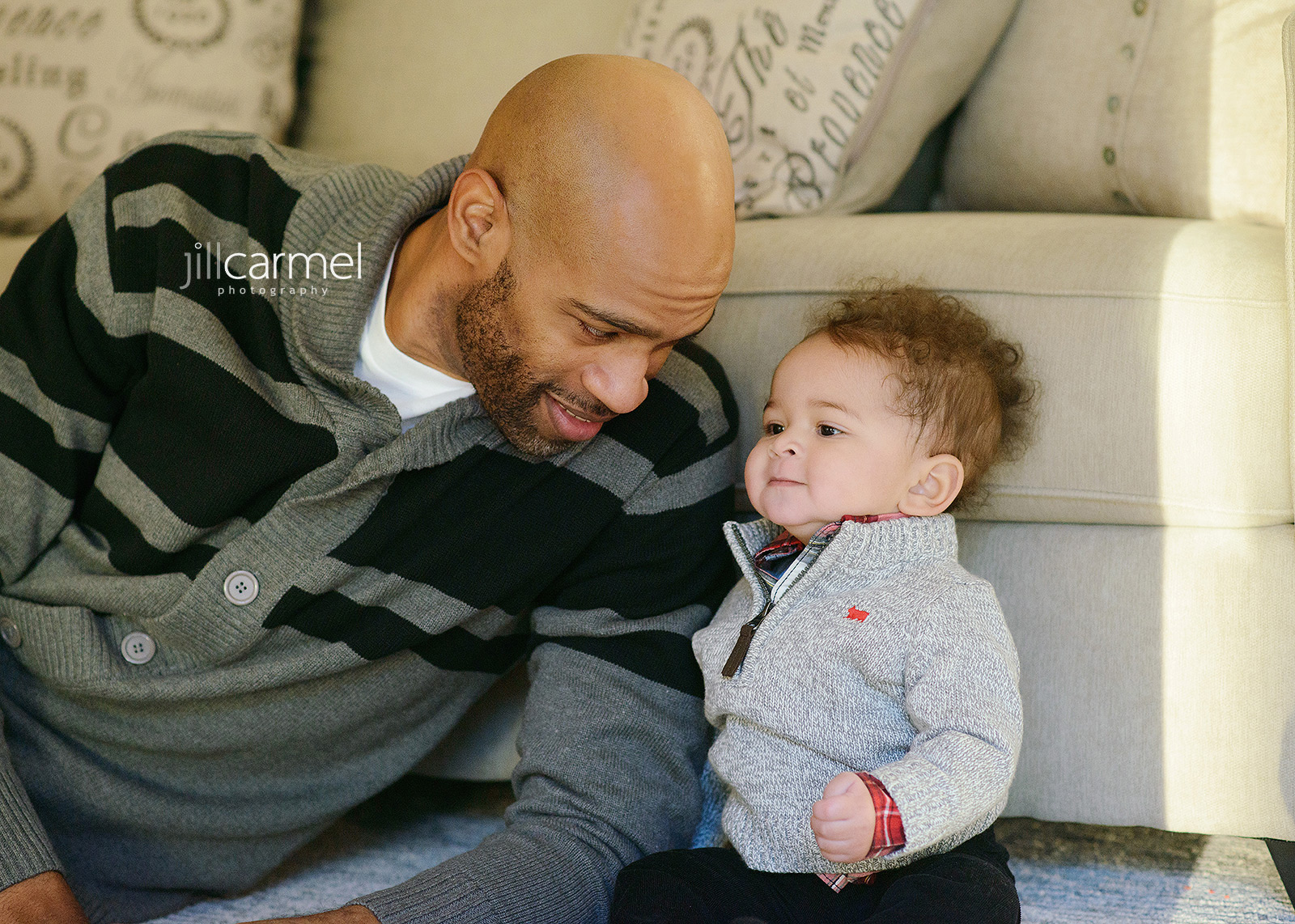 Vince Carter with Baby Boy on Couch