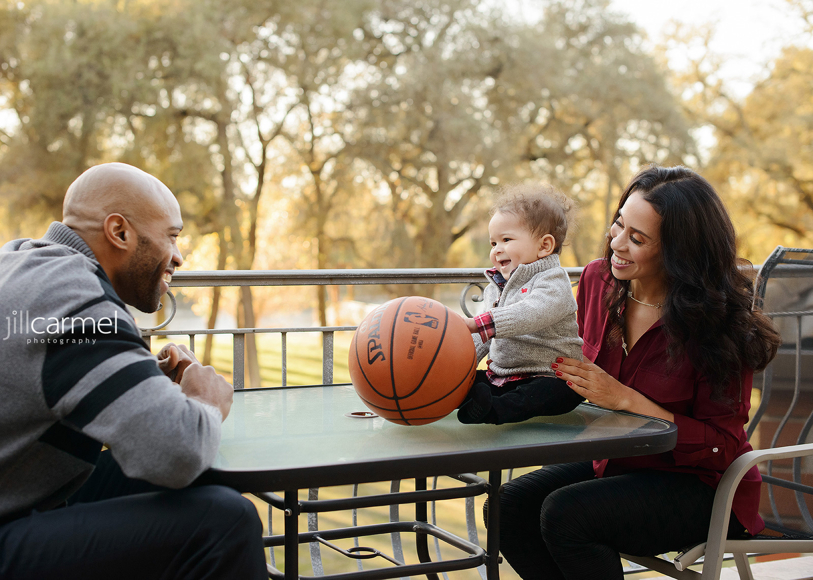 Vince and Sondi Carter with Baby Boy and a Basketball