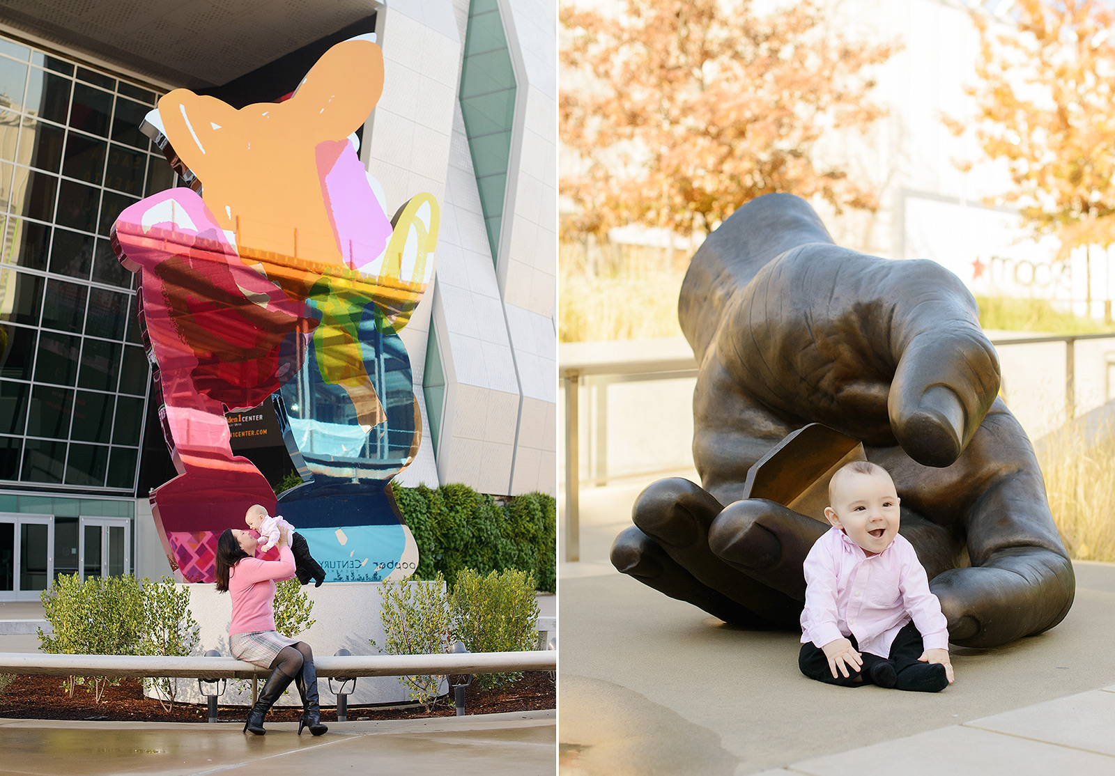 Baby and Mom Laughing in Front of Jeff Koons Sculpture in Golden 1 Center