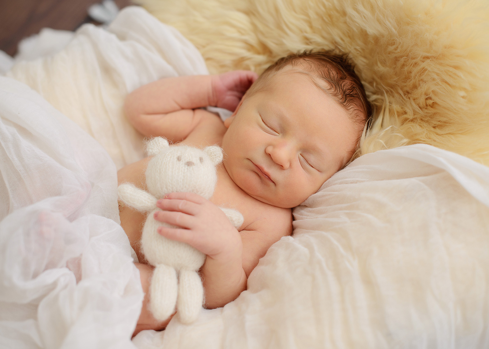 Sleeping newborn baby boy cuddling with stuffed bear toy in our Sacramento studio.
